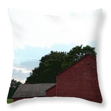 Large Red Barn Throw Pillow