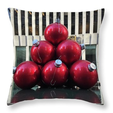 Large Red Ornaments Throw Pillow