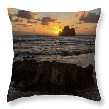 Large Rock Against The Light Throw Pillow
