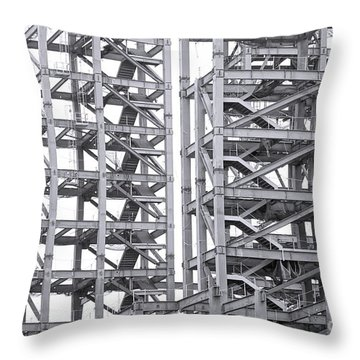 Throw Pillow featuring the photograph Large Scale Construction Project With Steel Girders by Yali Shi