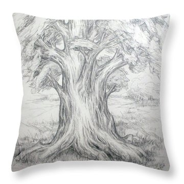 Large Shady Tree Throw Pillow by Ruth Renshaw