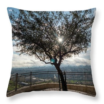 Large Tree Overlooking The City Of Jerusalem Throw Pillow