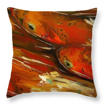 Large Trout Stream Fly Fish Throw Pillow by Diane Whitehead