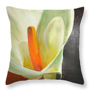 Large White Calla Throw Pillow by Tracey Harrington-Simpson