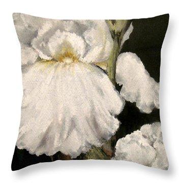 Large White Iris Throw Pillow by Carol Sweetwood