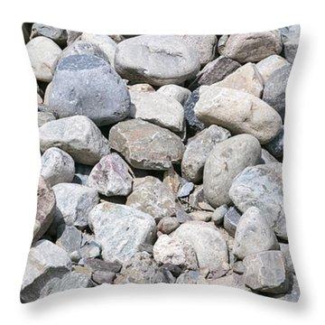 Larger Rock Meditation Throw Pillow by Allan Levin