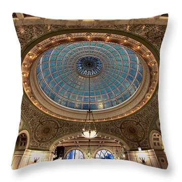 Largest Tiffany Glass Dome - Chicago Throw Pillow
