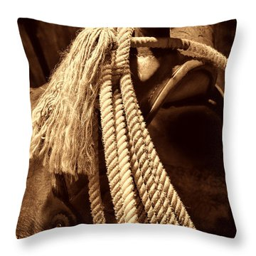 Lariat On A Saddle Throw Pillow by American West Legend By Olivier Le Queinec