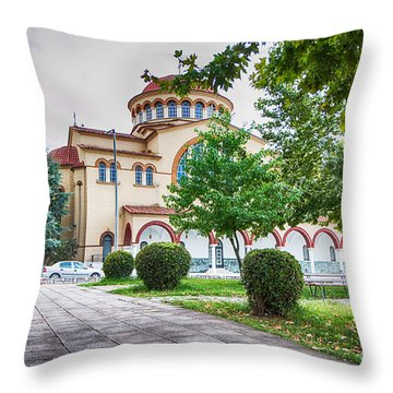Larissa Old City Church Throw Pillow by Jivko Nakev