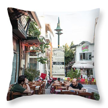 Larissa Old City Street View Throw Pillow