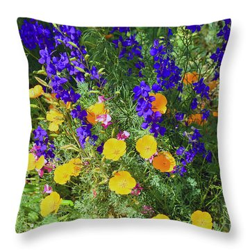 Larkspur And Primrose Garden Throw Pillow