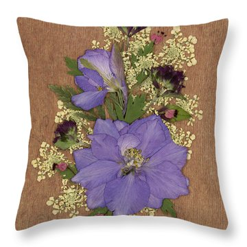 Larkspur And Queen-ann's-lace Pressed Flower Arrangement Throw Pillow