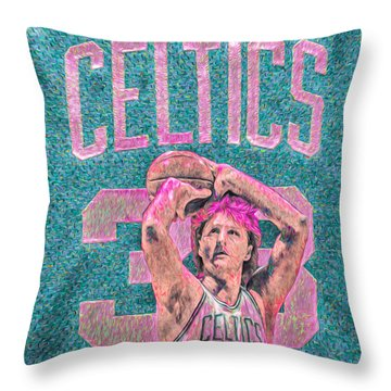 Larry Bird Boston Celtics Digital Painting Pink Throw Pillow by David Haskett
