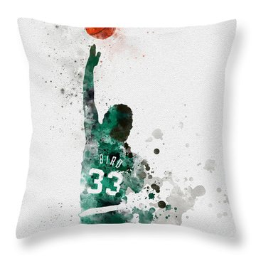 Larry Bird Throw Pillow by Rebecca Jenkins