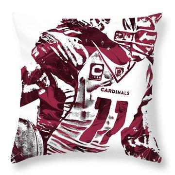 Throw Pillow featuring the mixed media Larry Fitzgerald Arizona Cardinals Pixel Art 1 by Joe Hamilton