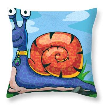 Larry The Snail Throw Pillow