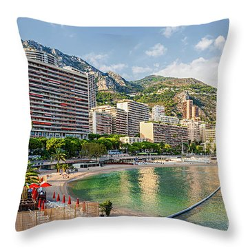Larvotto Beach In Monaco Throw Pillow