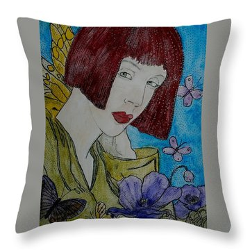 Las Adormideras Y Las Mariposas  Throw Pillow