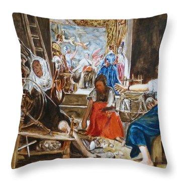 Las Hilanderas. Study Throw Pillow by Bachmors Artist