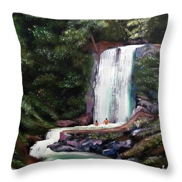 Las Marias Puerto Rico Waterfall Throw Pillow by Luis F Rodriguez