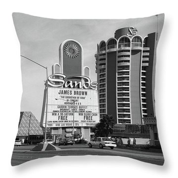 Throw Pillow featuring the photograph Las Vegas 1994 #1 Bw by Frank Romeo
