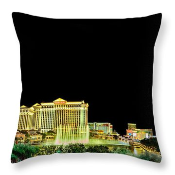 Las Vegas At Night Throw Pillow by Az Jackson