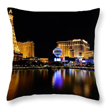 Las Vegas At Night Throw Pillow