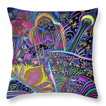 Throw Pillow featuring the painting Las Vegas by Leon Zernitsky