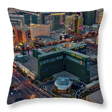 Throw Pillow featuring the photograph Las Vegas Nv Strip Aerial by Susan Candelario