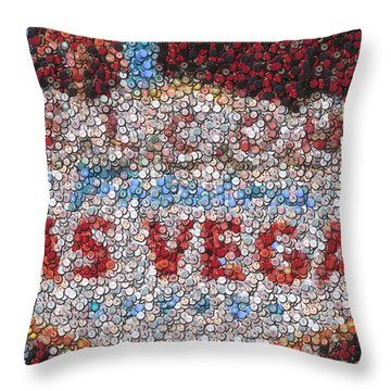 Las Vegas Sign Poker Chip Mosaic Throw Pillow by Paul Van Scott