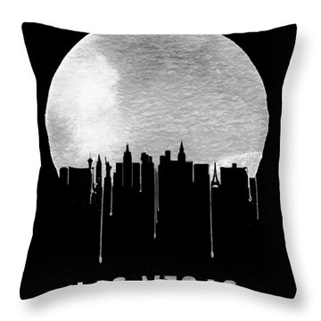 Las Vegas Skyline Black Throw Pillow