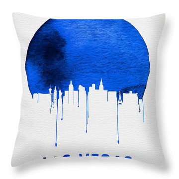 Las Vegas Skyline Blue Throw Pillow