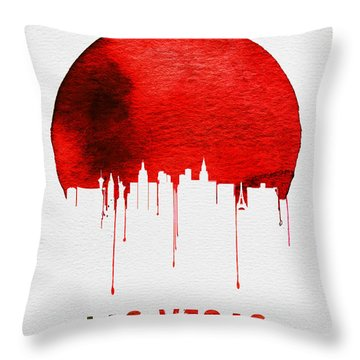 Las Vegas Skyline Red Throw Pillow