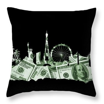 Las Vegas Skyline Silhouette Money Throw Pillow