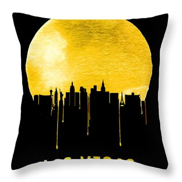 Las Vegas Skyline Yellow Throw Pillow