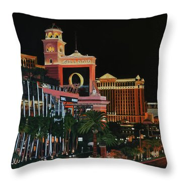 Las Vegas Strip Oil On Canvas Painting Throw Pillow