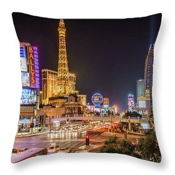 Las Vegas Strip Paris Throw Pillow