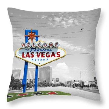 Throw Pillow featuring the photograph Las Vegas Welcome Sign Color Splash Black And White by Shawn O'Brien