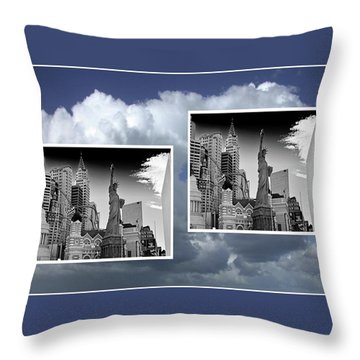 Throw Pillow featuring the painting Las Vegas,new York by Athala Carole Bruckner