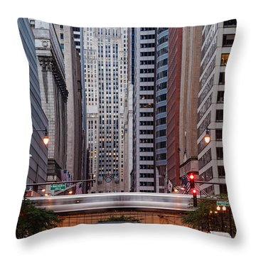 Lasalle Street Canyon With Chicago Board Of Trade Building At The South Side II - Chicago Illinois Throw Pillow by Silvio Ligutti