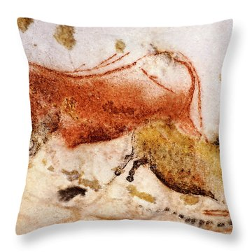 Lascaux Cow And Horse Throw Pillow
