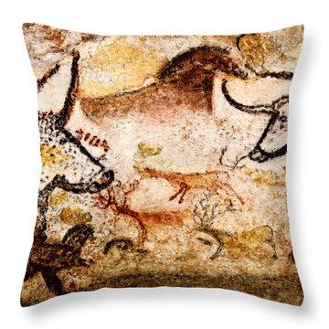 Lascaux Hall Of The Bulls - Deer Between Aurochs Throw Pillow