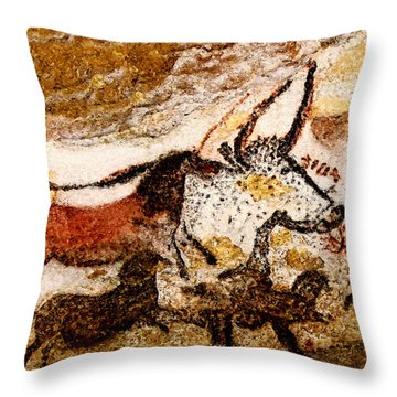 Lascaux Hall Of The Bulls - Horses And Aurochs Throw Pillow