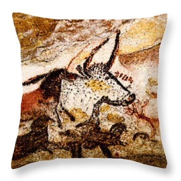 Lascaux Hall Of The Bulls Throw Pillow