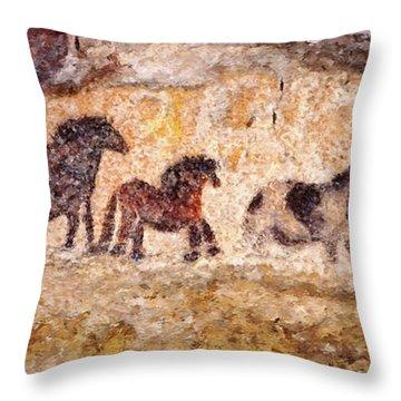 Lascaux Horses Throw Pillow