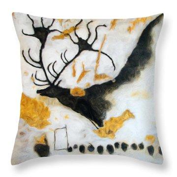 Lascaux Megaceros Deer Throw Pillow