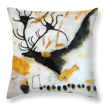 Lascaux Megaceros Deer Throw Pillow