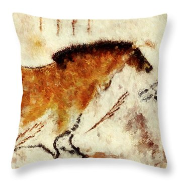 Lascaux Prehistoric Horse Detail Throw Pillow