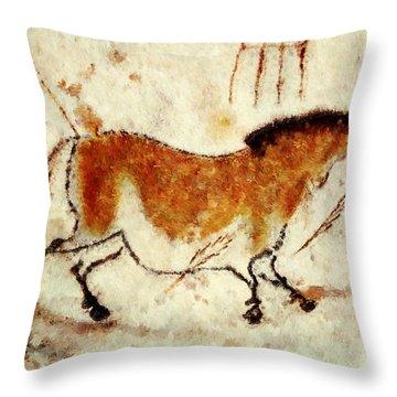 Lascaux Prehistoric Horse Throw Pillow