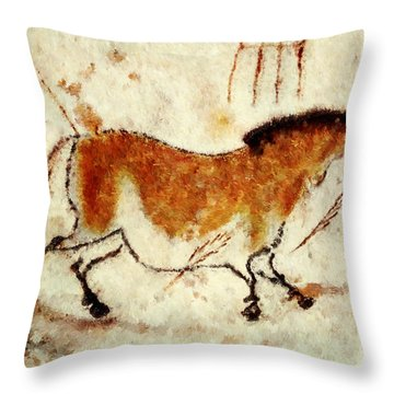 Lascaux Prehistoric Horse Throw Pillow